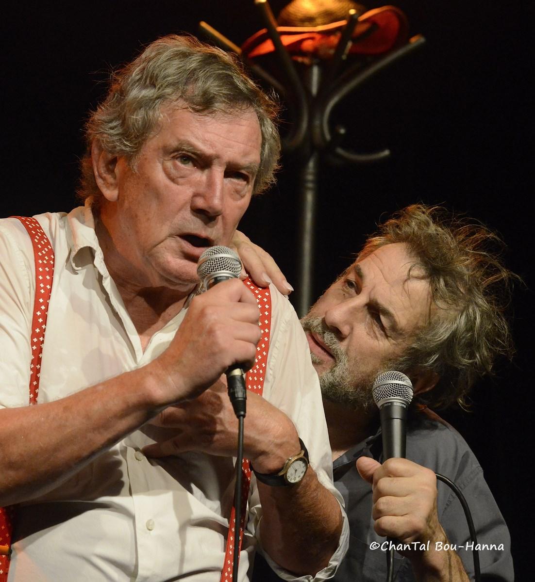 """Michel Bühler et Sarcloret dans """"Les trois cloches"""" le 18 octobre 2013 au Forum Léo-Ferré Photo : Chantal Bou-Hanna"""
