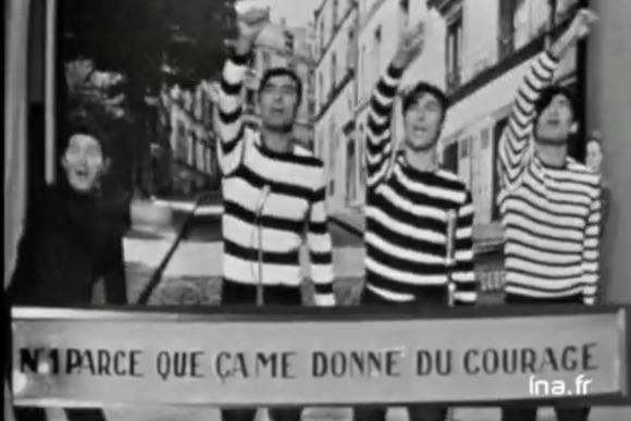 «Palmarès des chansons», 28 octobre 1965. Les garçons de la rue chantent Parce que ça me donne du courage (paroles : Jean Nohain – musique : Mireille) :  «  […] Et le peintre en bâtiment / Quand il repeint l'appartement / Chante gaiement […] » Doc. : Ina
