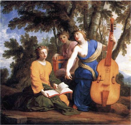 « Les Muses Melpomène, Erato  et Polymnie », par Eustache Le Sueur (vers 1652-1655), musée du Louvre.