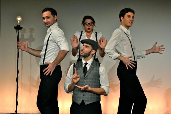 Les comédiens (de g. à d.) : Cristos Mitropoulos, Ali Bougheraba, Camille Favre-Bulle, Benjamin Falletto...